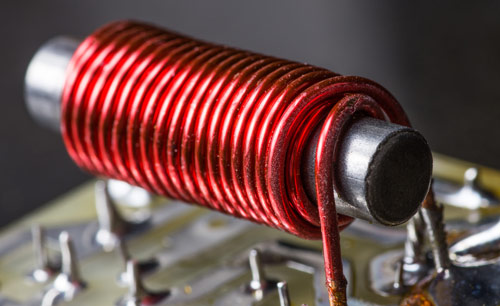 A coil around an iron core